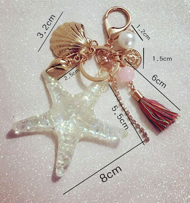 Unique Starfish Pearl Shell Keychain