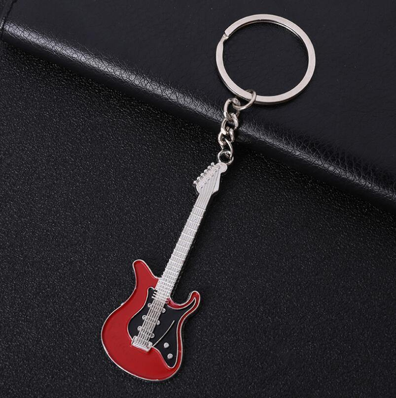 Electric Guitar Keychain Gift For Boyfriend in red color