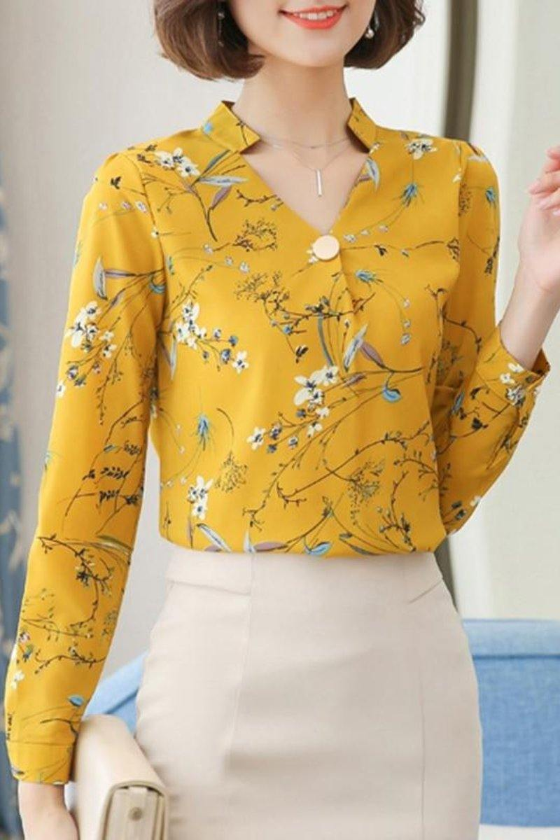 Elegant Flower Print Long Sleeve Office Top Chiffon Blouse