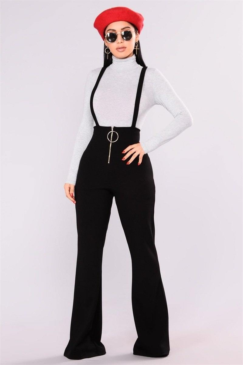 Elegant Black High Waist Suspender Jeans