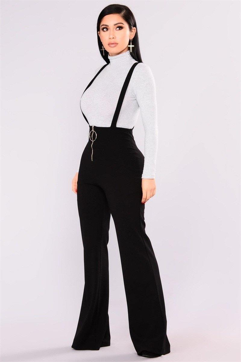 Black High Waisted Suspender Jeans