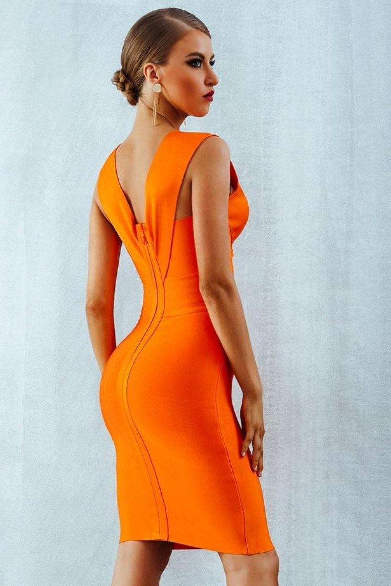 Sexy Deep V-Neck Bandage Tank Bodycon Dress - Orange
