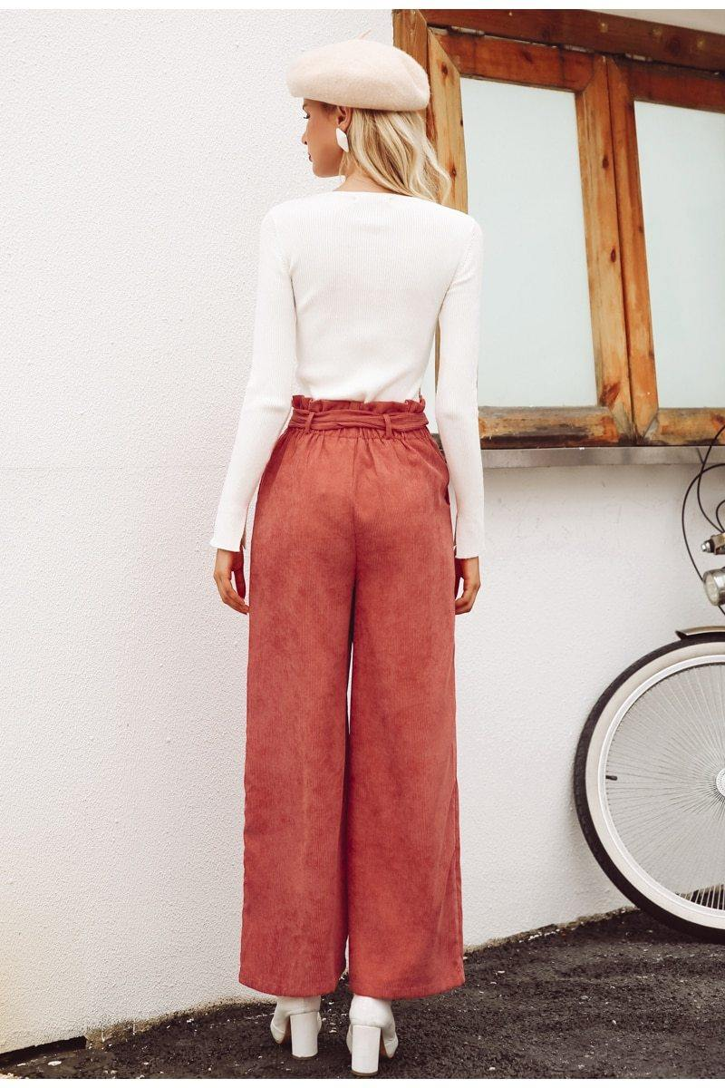 High Waisted Corduroy Wide Leg Pants
