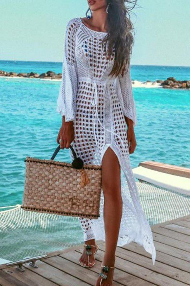 Hollow Out White Summer Dress