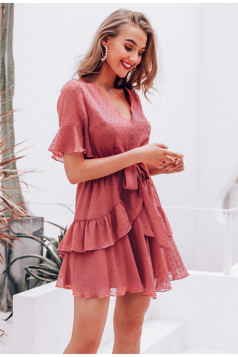 Cascading Ruffle Pink Mini Dress
