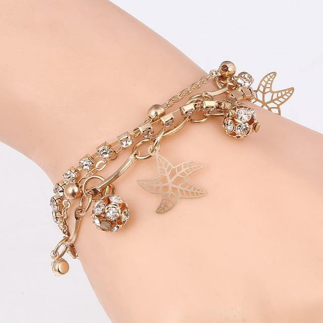 Mulitlayer Gold Chain Heart Bracelet