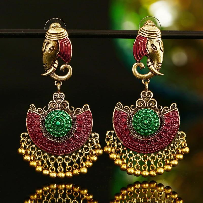 Indian Tribal Brass Drop Earrings