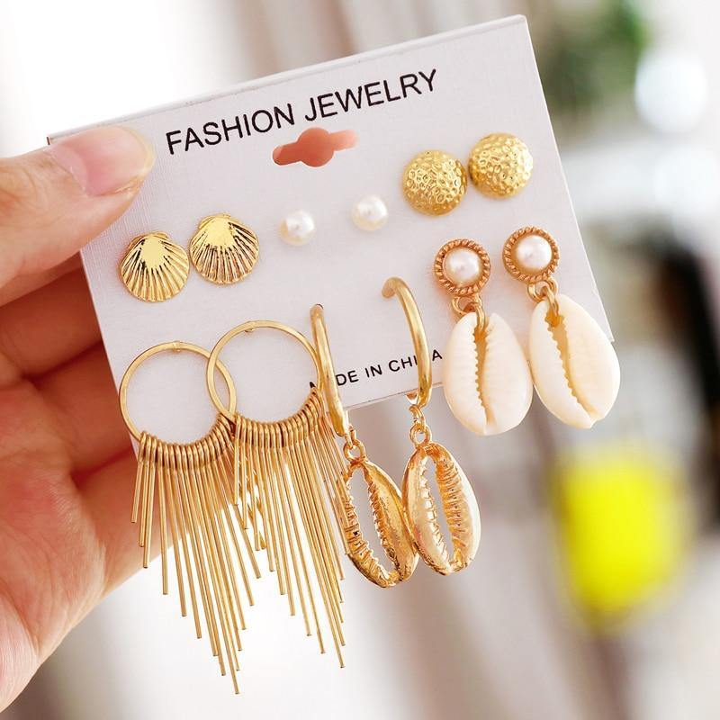 Geometric Gold Shell Stud Earrings Set