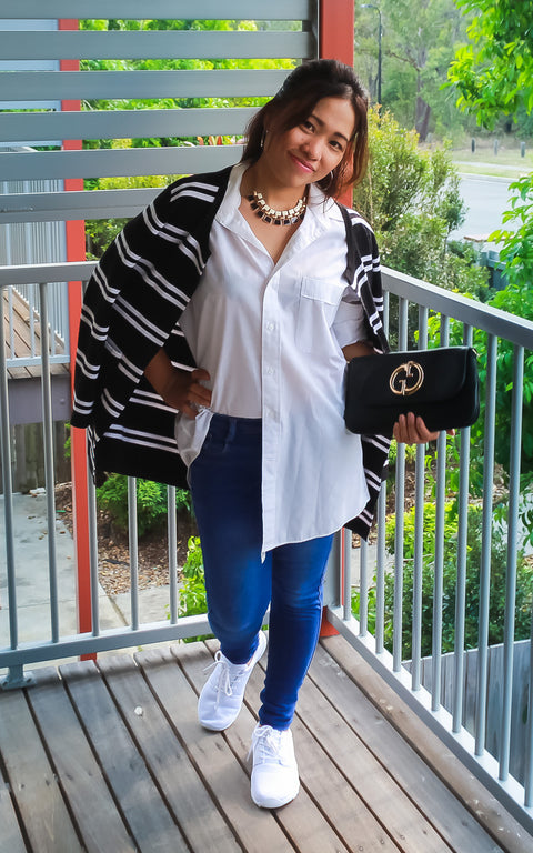 Layer boyfriend shirt with a cardigan