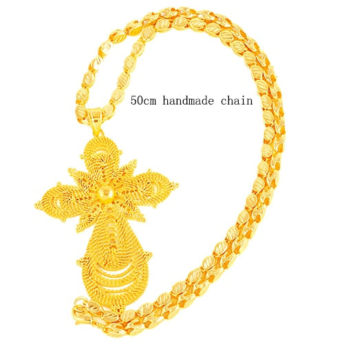 Ethiopian Gold Color Big Cross Pendant Necklaces