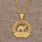 Anniyo Eritrea Map Flag Pendant Necklaces Chain Women Girls,Map of Eritrea Gold Color Jewelry African Necklace Ethiopia #109921