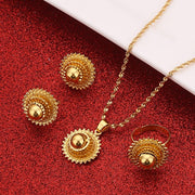 New Ethiopian Silver Color Sets Pendant Necklaces Earrings Ring Habesha ሓበሻ Jewelry