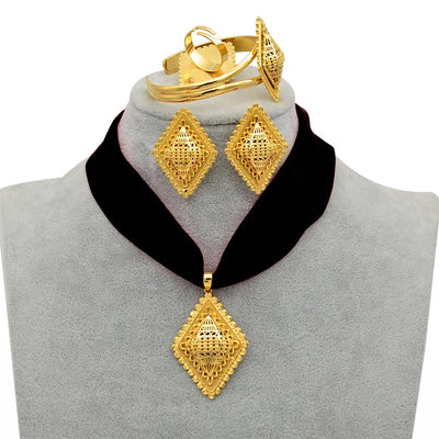 Rope Ethiopian Jewelry set Pendant Necklaces Earrings Bangle Ring Gold Color Eritrea Habesha Jewellery Sets #218406