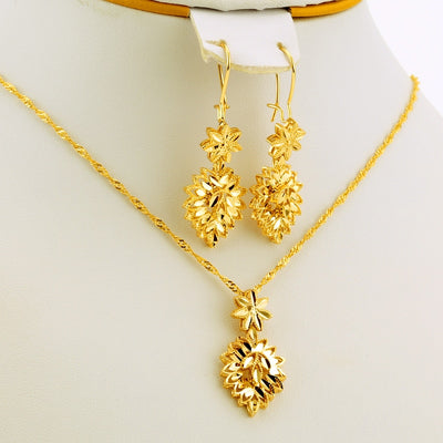 Gold Color Ethiopian African Accessories Jewelry Sets Dubai Wedding Bride bridal Necklace/Pendant/Earrings gifts for women set