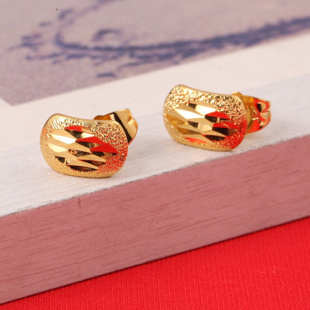 Ethiopian Earrings For Women Girl Baby 22K Gold Color Jewelry Factory Price