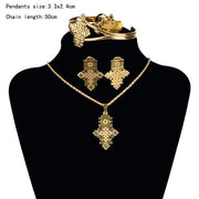HOT Ethiopian Jewelry Sets Coptic Crosses Pure Gold Color Silver Color Sets Eritrea Habesha style A30005