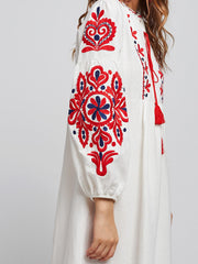 Embroidery Drawstring Dress