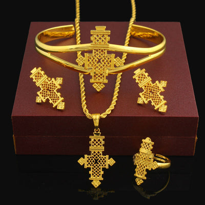 Ethiopian Jewelry sets 24K Gold Color Coptic Crosses Sets Kenya/ Nigeria/Sudan/Eritrea/ Habasha Wedding Jewelry