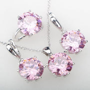 Rainbow CZ Stones Silver 925 Costume Jewelry Sets Women's Rings Earrings Pendant Necklace Ethiopian New Year Gifts Free Gift Box