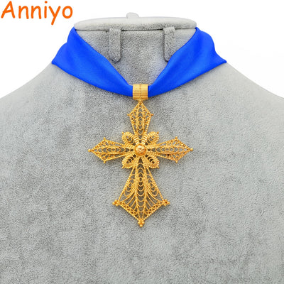 Ethiopian Cross Pendant DIY Rope Chain for Women Girls,African Wedding Party Gold Color Eritrean/Ethiopian Jewelry Crosses #229706