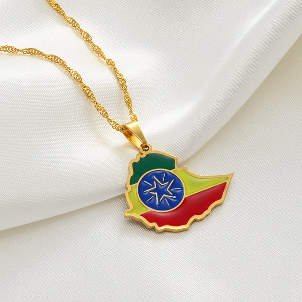 Anniye Ethiopian Map Flag Pendant Necklaces Gold Color Jewelry Africa Ethiopia National Flag Necklace Maps #148621