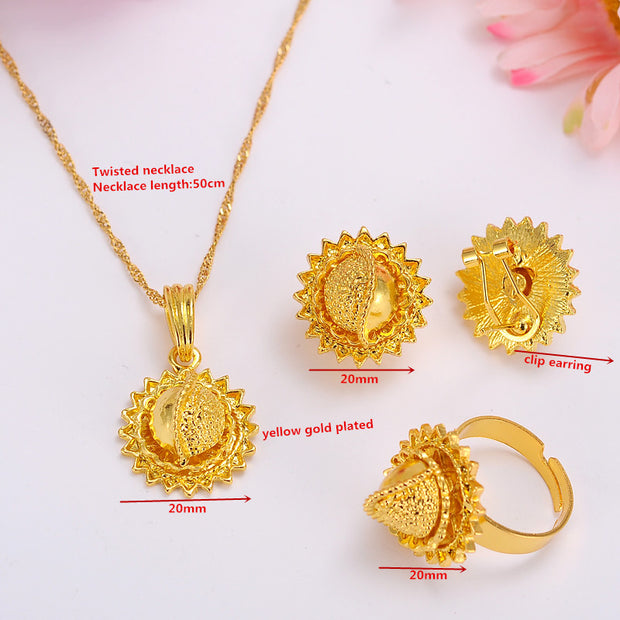 Ethiopian Gold Color Necklace Pendant Earrings Ring