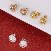 1cm Small Ethiopian Earrings Stud Gold