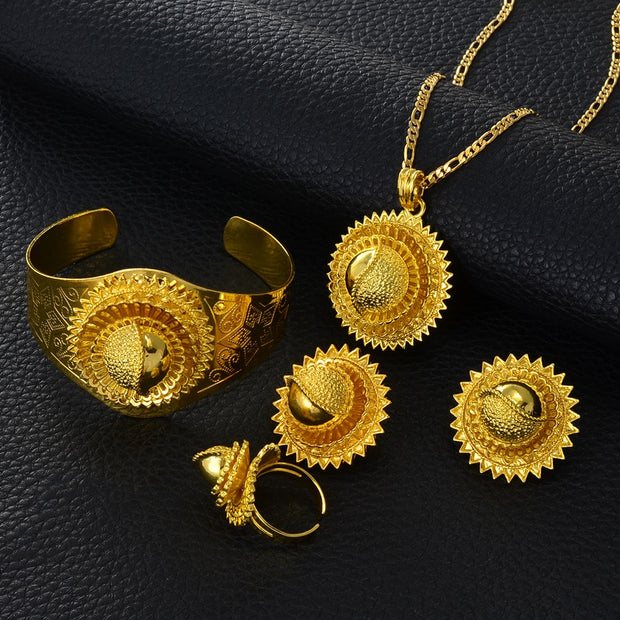 New Ethiopia set Jewelry Gold Color Pendant Chain/Clip Earrings/Bangle/Ring Africa Bride Eritrea set Ethiopian #000513