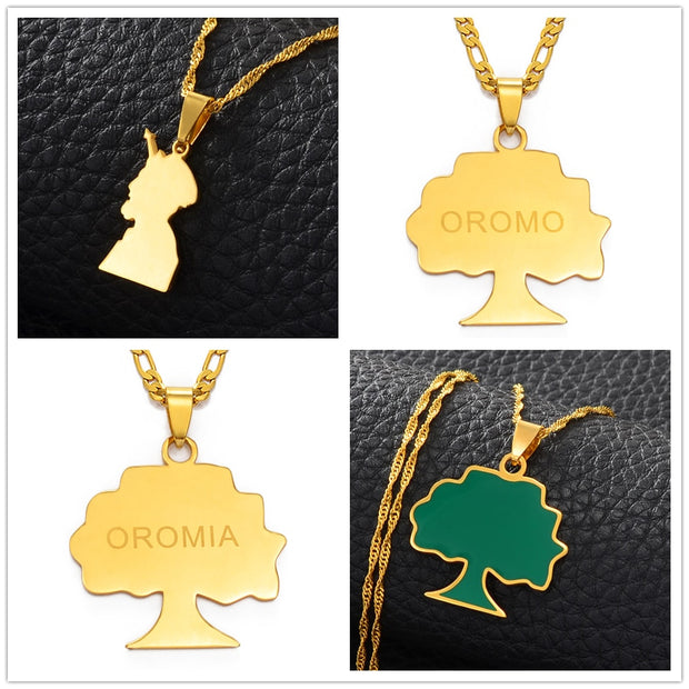 Anniyo Ethiopia Oromia Pendant and Necklaces for Women Men Oromo Necklaces Jewelry Gifts #151021