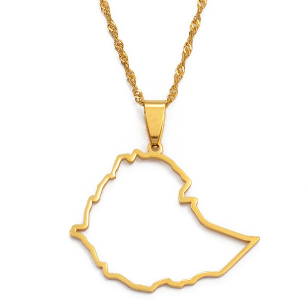 Ethiopia Outline Map Pendant Necklace for Women Men Girls Gold Color Jewelry Map of Ethiopian Necklaces Maps #117821