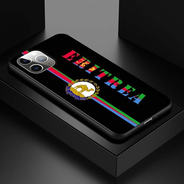 Eritrea National Flag Coat Of Arm for iPhone 12 Mini 11 11Pro X XR XS Max 8 7 6 6S Plus 5S SE 2020 Phone Case Bright Black Cover