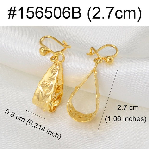 Gold African Flower Wedding Earrings