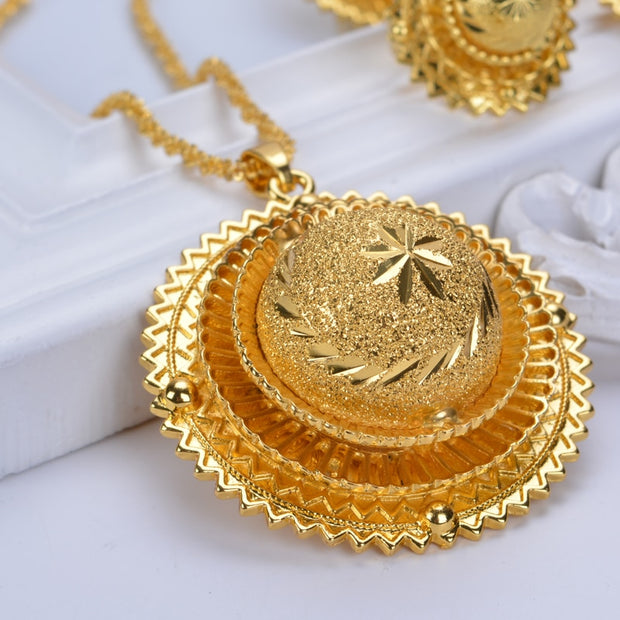 Hot Ethiopian Bridal Jewelry Sets  Eritrea Pure Gold Color Habአsha ሓበሻ Style Wedding Sets D30019