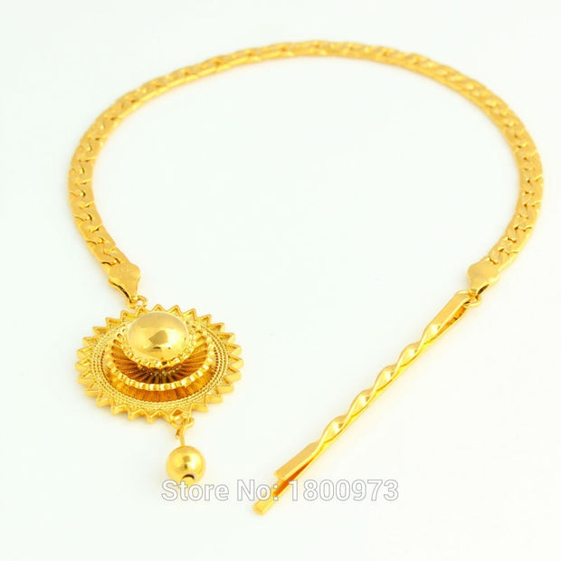 New Ethiopian Hair Chain Jewelry 24k Gold Color African/Eritrea/Women Habesha Party Accessories