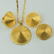 Anniyo Ethiopia Set Jewelry Gold Color Pendant Chain/HEAVY Earrings/Ring African Eritrea Bride Wedding for Women #081606