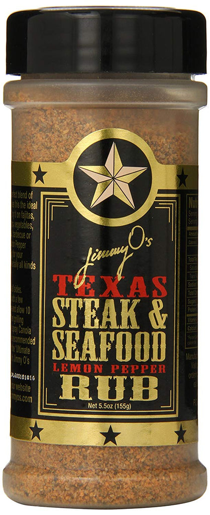 Real lemon zest combined with Jimmy O's legendary spicy rub and you've got a true Texas style lemon pepper. There's no substitute on steaks, fajitas, chicken, seafood, wild game and veggies. All natural. No MSG. No trans fat. No preservatives. No corn syrup added.
