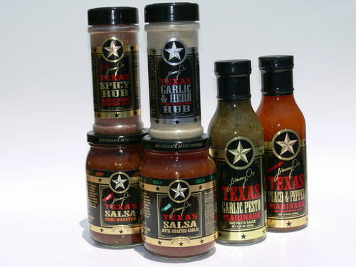 Jimmy O's half case, your choice any 6 items, rubs, salsas and marinades.