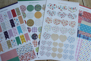Set de 4 láminas de stickers diseño Romantic. - Pretty Things Store