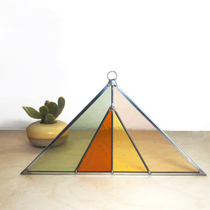 Triangle Stained Glass Suncatcher - Field