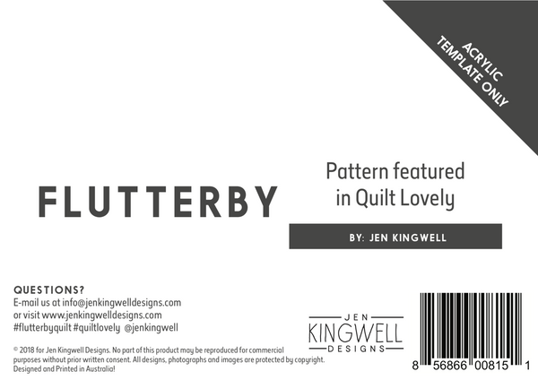 Flutterby Acrylic Template only