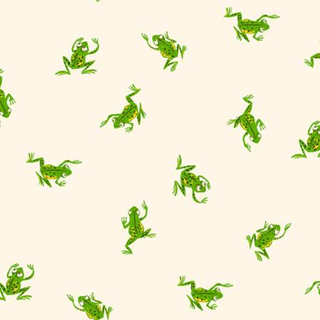 Heather Ross 20th Anniversary - Frogs - White