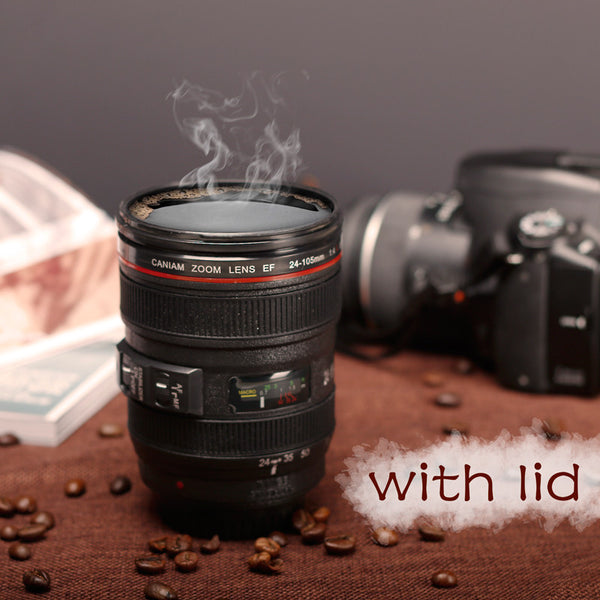 Camera Lens Coffee or Tea Mug With Lid Caniam 24-105mm SLR