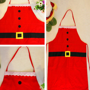 2PC Christmas Decoration Santa Apron  Kitchen Cooking Baking Chef Red Apron