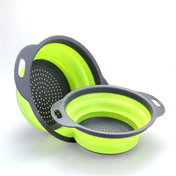 ABEDOE 2pcs/set Collapsible Silicone Colander