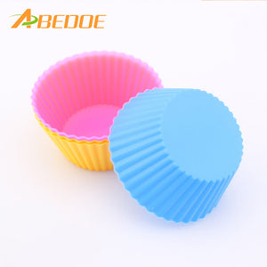 ABEDOE Wholesales Set of 12 Pieces (1 dozen) Round Shaped Silicon Cake Baking Molds Jelly Mold Silicon Cupcake Pan Muffin Cup