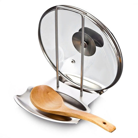 Stainless Steel Pot Lid and Spoon Holder