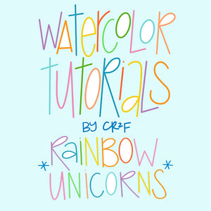 Rainbow Unicorn Watercolor Tutorial by Carrie at CR2F