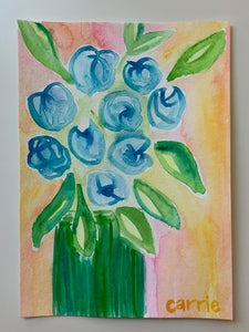 SALE - Original Watercolor - Blue flowers in vase, 5x7