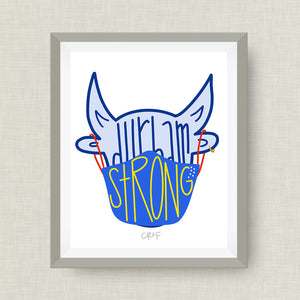 Durham Strong - Bull with Mask Art Print -CR2F