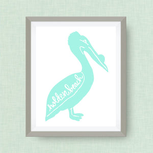 Holden Beach, North Carolina Art Print, Pelican Art Print